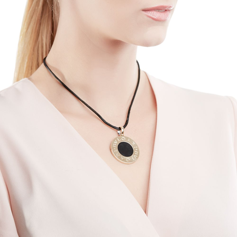 Bulgari 18k Yellow Gold & Stainess Steel Black Onyx Necklace