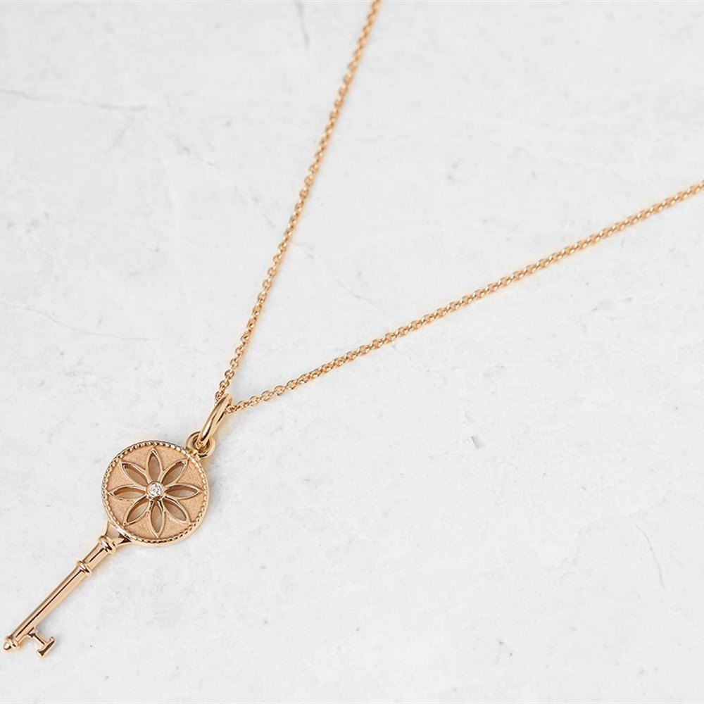 Tiffany & Co. 18k Rose Gold Daisy Key Pendant Necklace