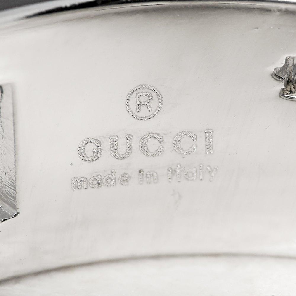 Gucci 18k White Gold G Logo Band Ring