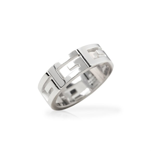 Gucci 18k White Gold G Logo Band Ring