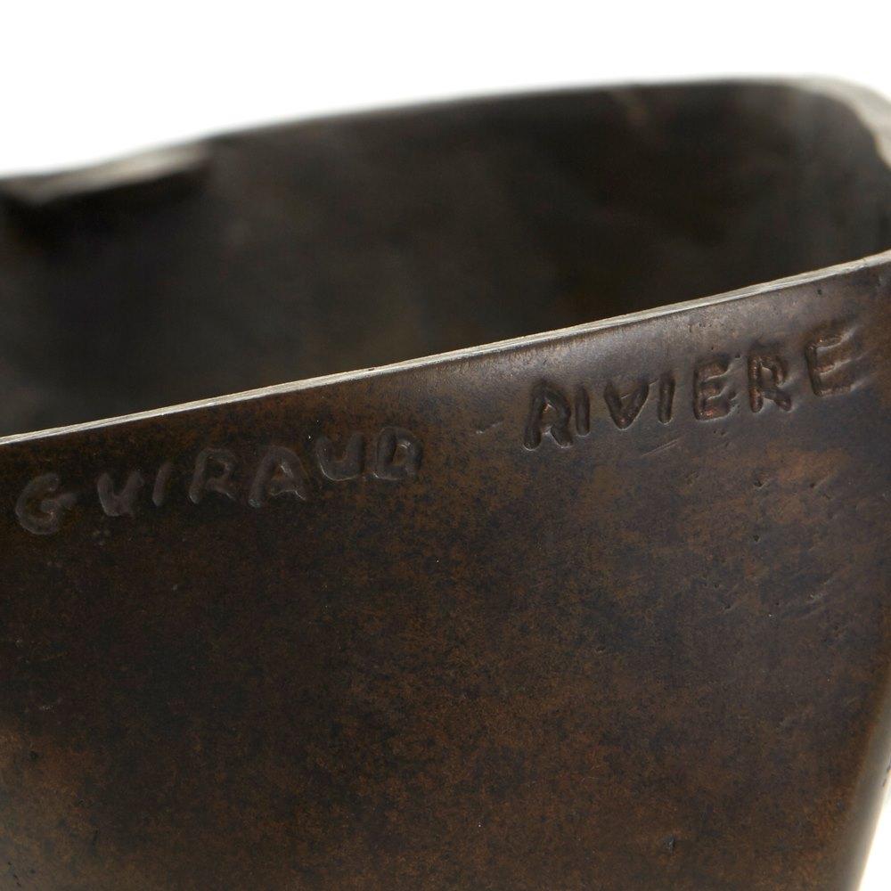 MAURICE GUIRAUD RIVIERE ART DECO BRONZE FACE SCULPTURE C.1925