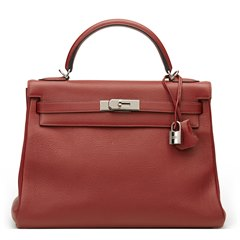 Hermès Rouge H Evergrain Leather Kelly 32cm Retourne