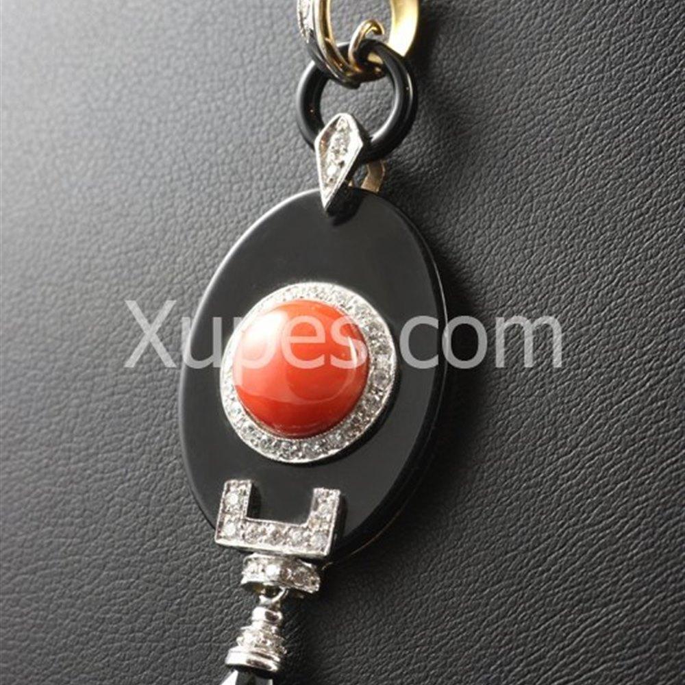 Retro Art Deco 18K White Gold Onyx, Coral & Diamond Pendant & Rose Gold Chain