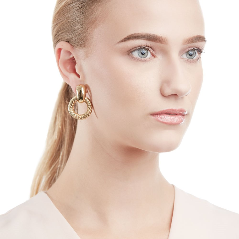 Tiffany & Co. 18k Yellow Gold Woven Hoop Ear Clips