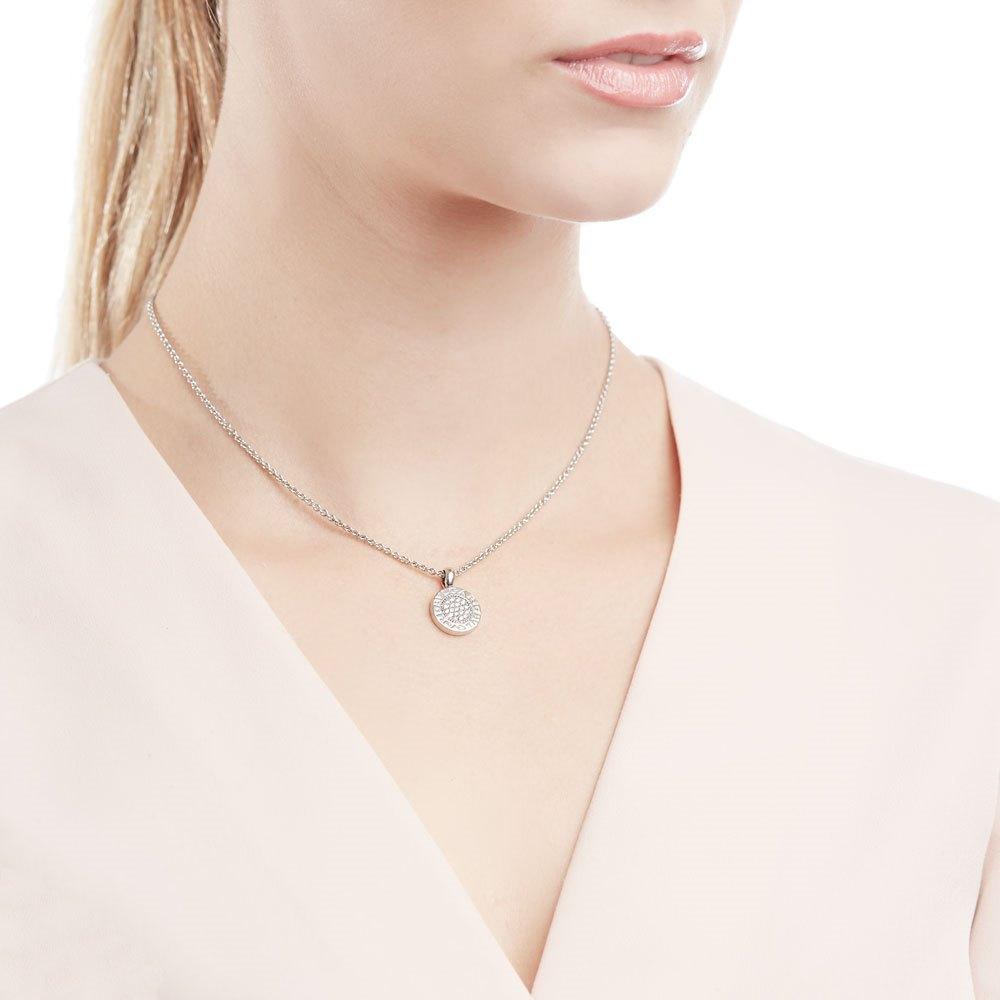 Bulgari 18k White Gold Diamond Circle Pendant Necklace