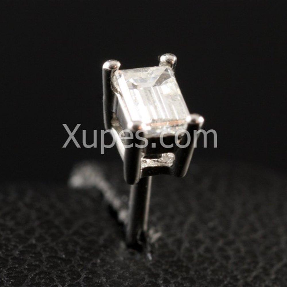 14K White Gold Baguette Cut Diamond Earrings