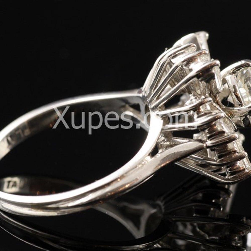 1950'S 14K White Gold Diamond Cluster Ring