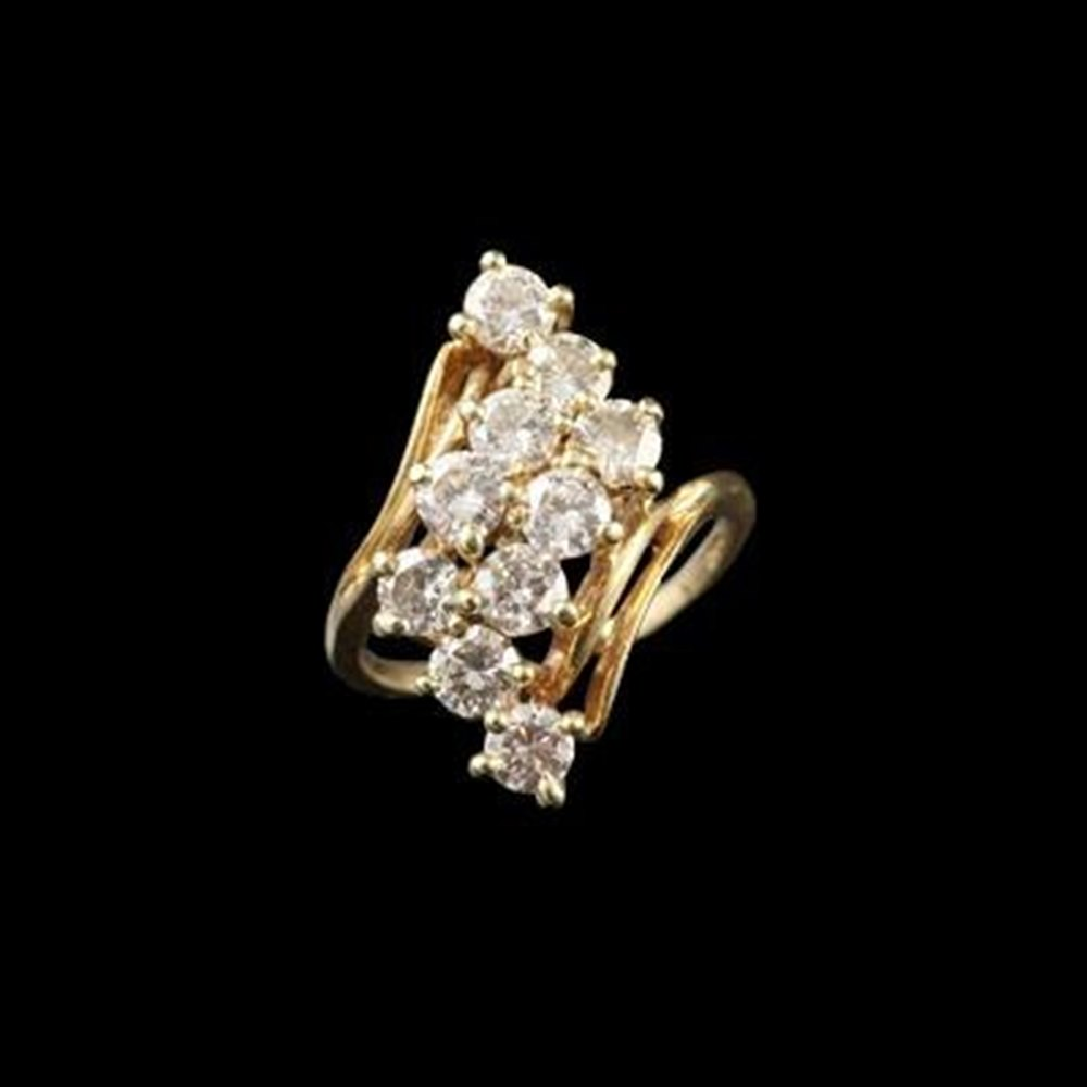 1950'S 14K Yellow Gold Diamond Cocktail Ring