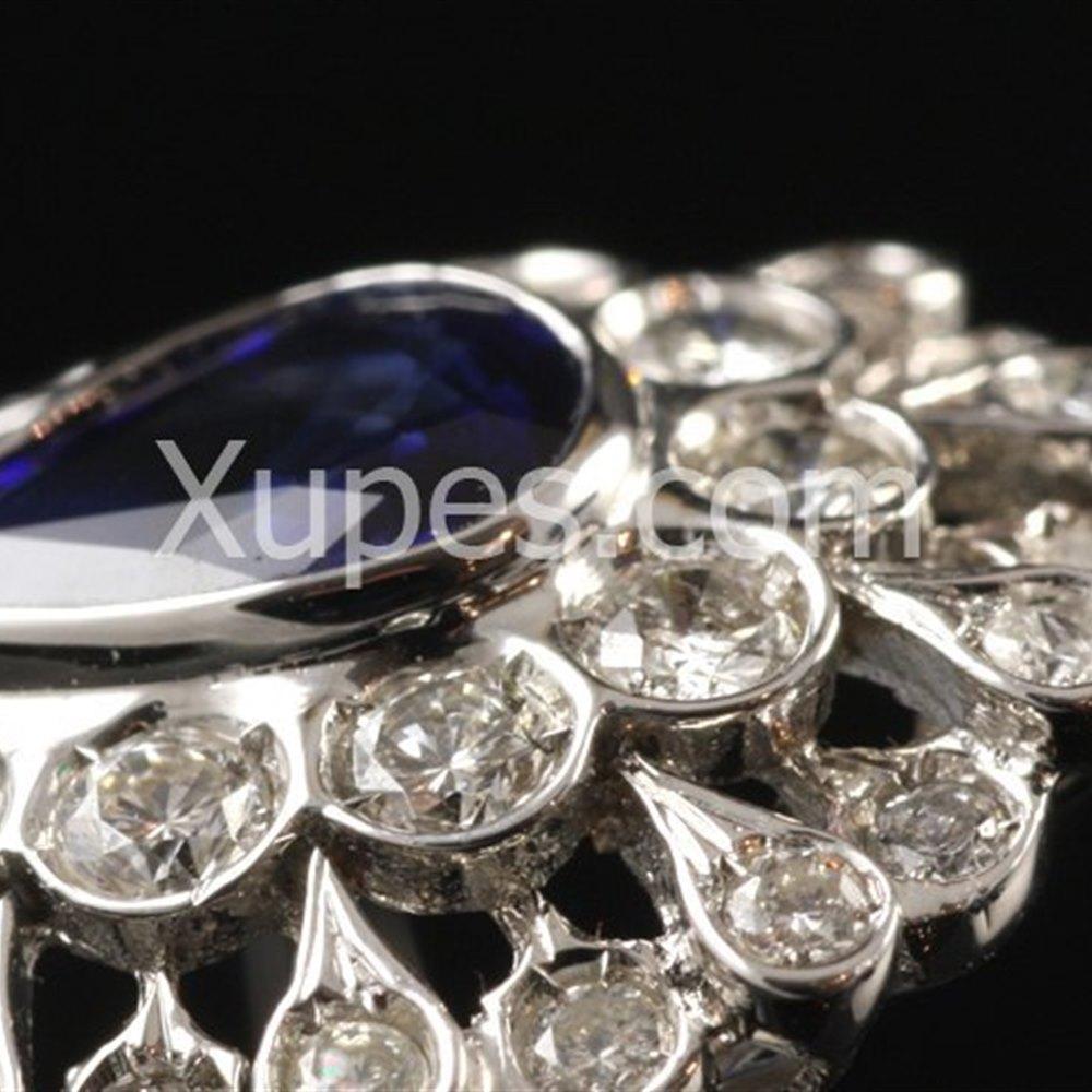 Unusual 1950'S 18K White Gold Sapphire Pear & Diamond Ring