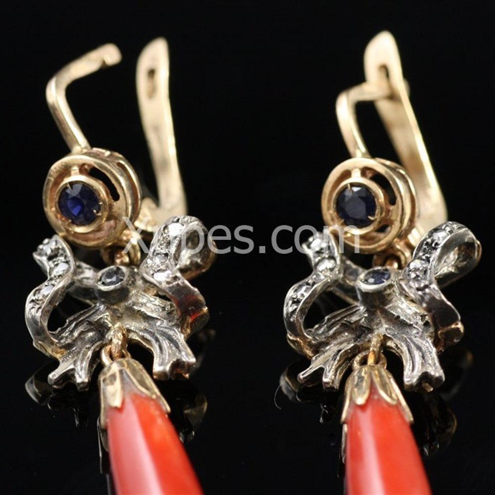 Unusual Antique 14K White & Yellow Gold Diamond, Sapphire & Coral Ear Drops