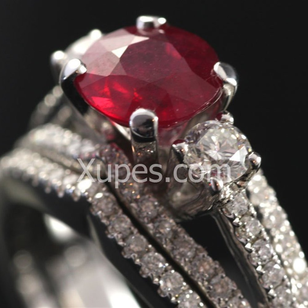 18K White Gold Ruby & Diamond Double Ring Set