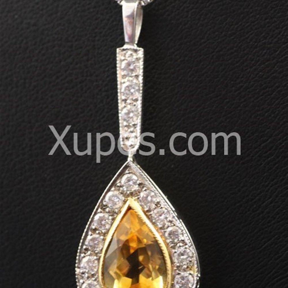 Hand Made Unique 18K Yellow/White Gold Citrine & Diamond Pendant With Chain