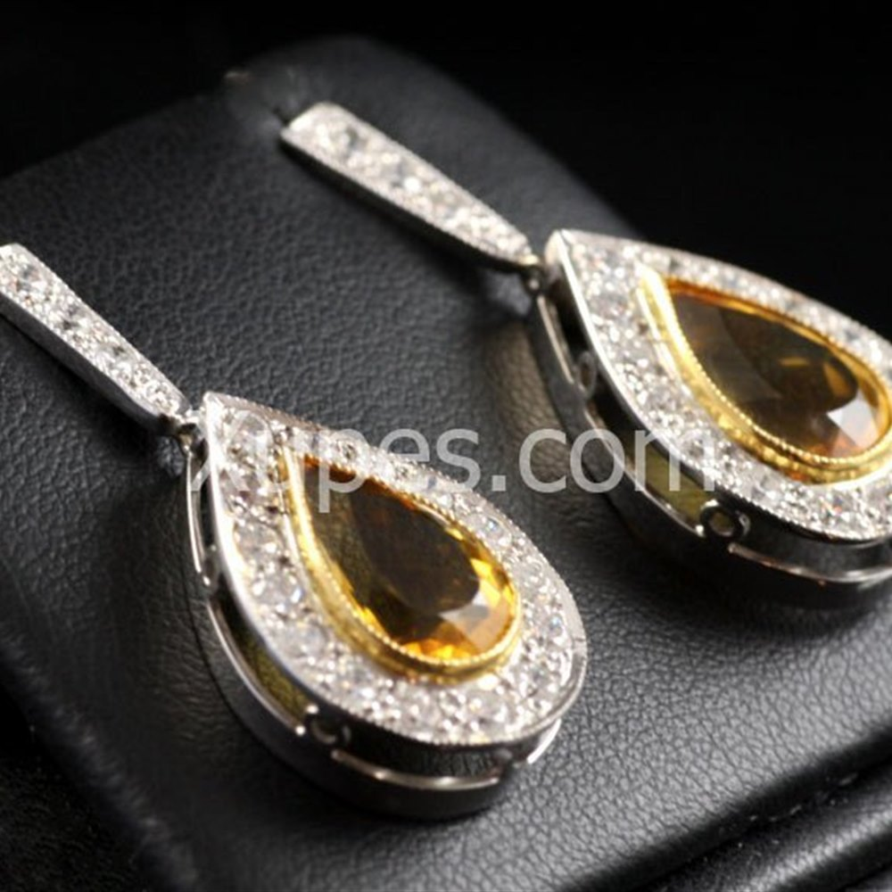 Hand Made Unique 18K Yellow/White Gold Citrine & Diamond Earrings