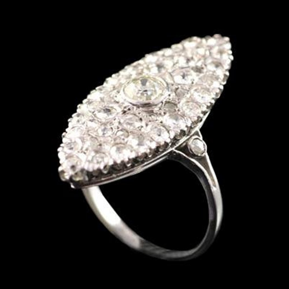 Lovely 1930'S Art Deco Platinum Marquise Shape Diamond Ring