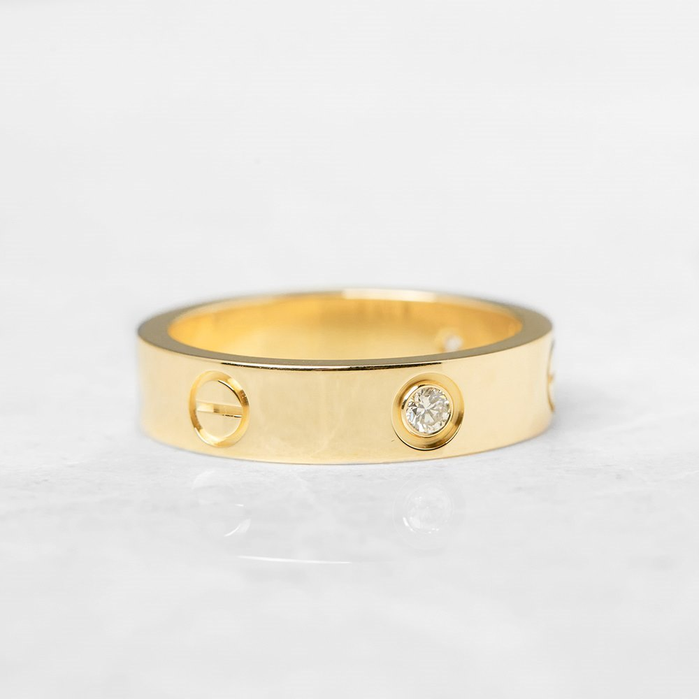 Cartier 18k Yellow Gold 3 Diamond Love Ring