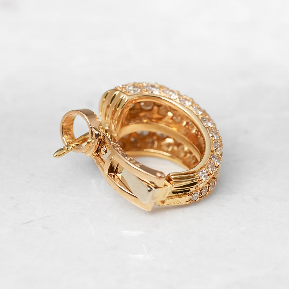 Serial Earrings: Cartier 18k Yellow Gold Diamond Double Hoop Earrings