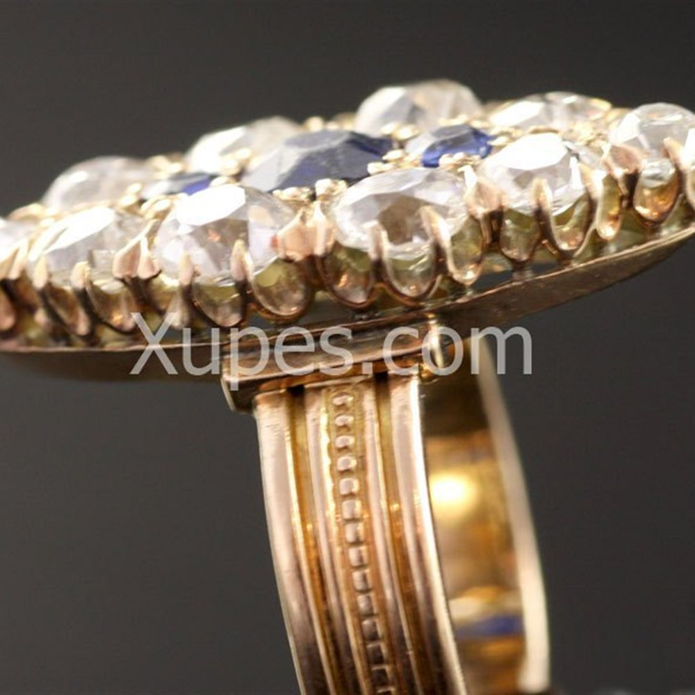 Unusual 1930'S 18K Yellow Gold Marquise Shape Diamond & Sapphire Ring