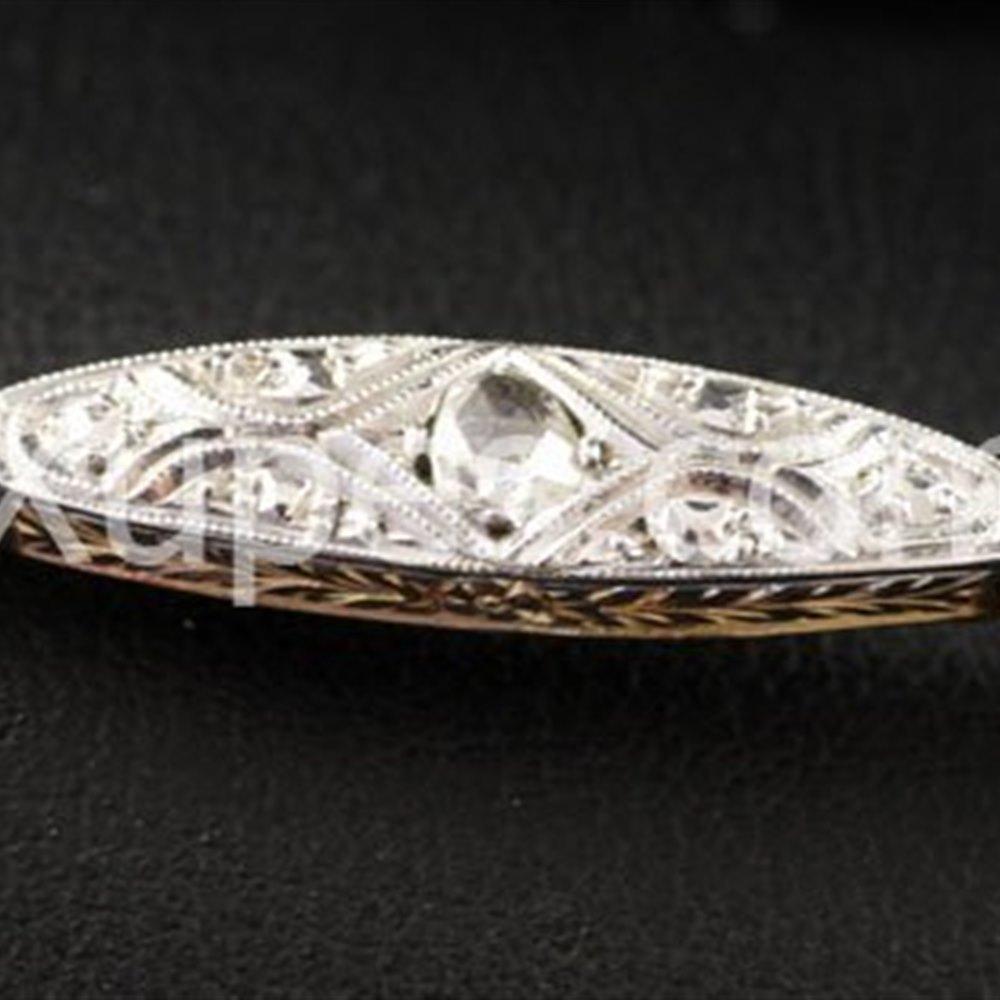 Beautiful 1920'S Art Deco 18K Yellow Gold Platinum Top Set Diamond Bracelet