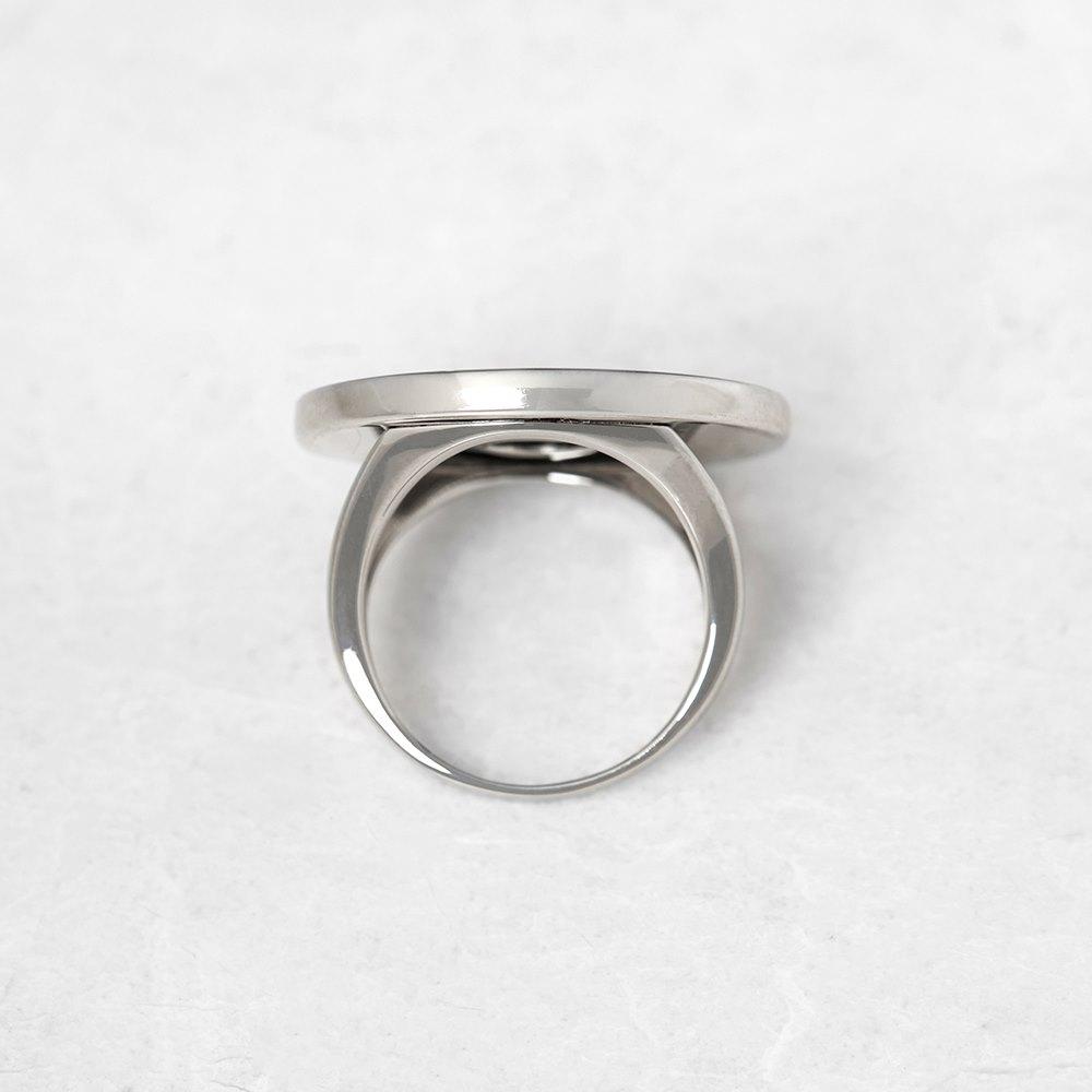bulgari 18k white gold large black onyx ring com1078
