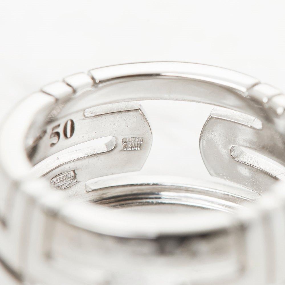 Bulgari 18k White Gold Cut Out Parentesi Ring