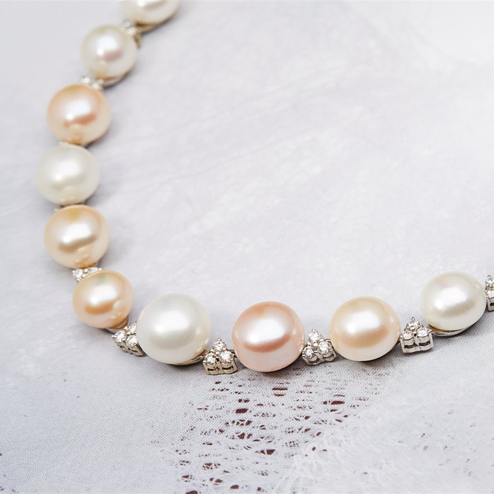 Mappin & Webb 18K White Gold Button Pearl & Diamond Necklace