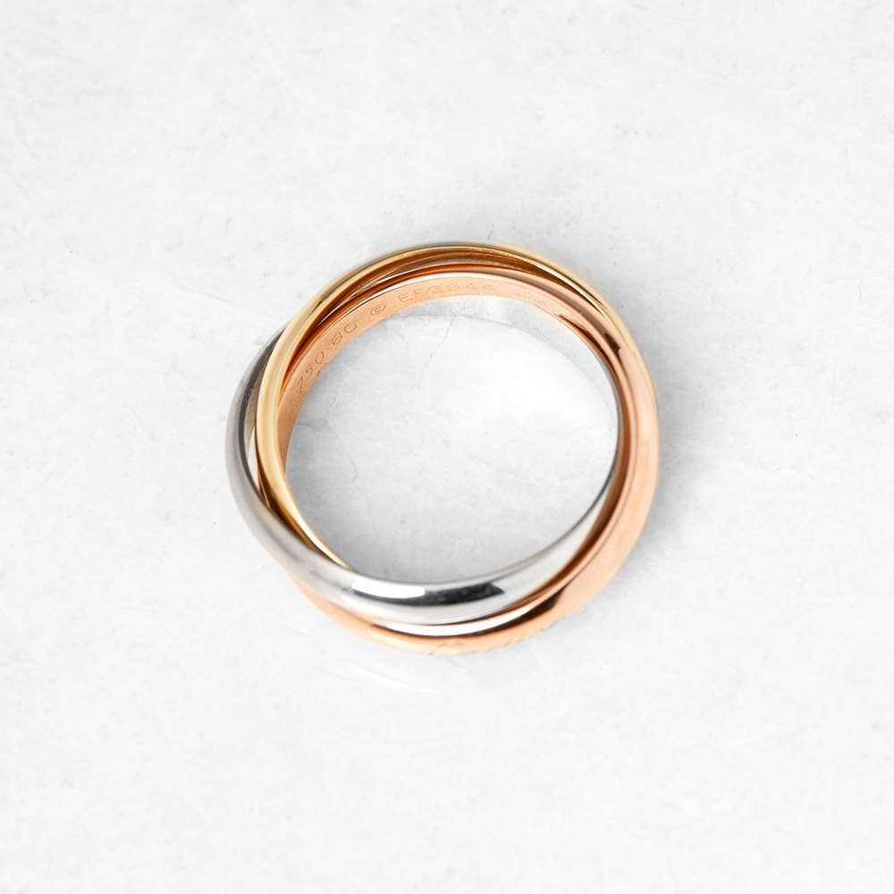 Cartier 18k Yellow, White & Rose Gold Trinity Ring Size S