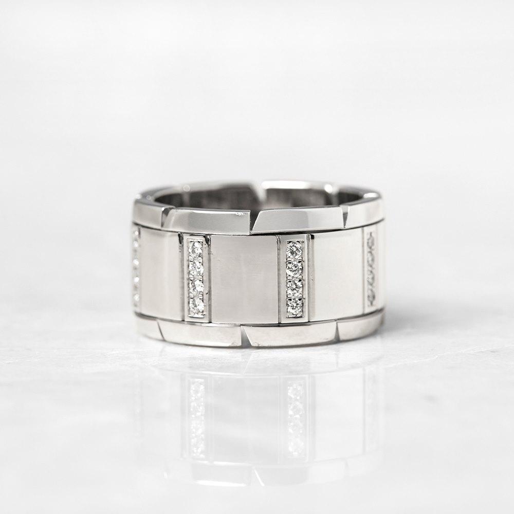 Cartier 18k White Gold Diamond Tank Francaise Ring