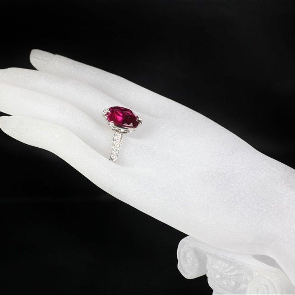 Mappin & Webb 18K White Gold Pink Tourmaline & Diamond Ring