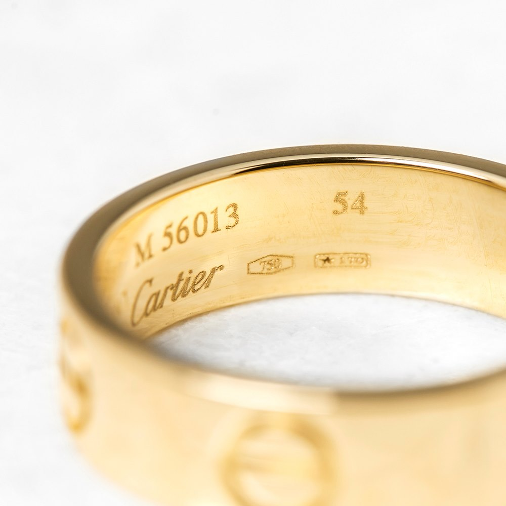 Cartier 18k Yellow Gold Love Ring Size N COM1097 | Second ...