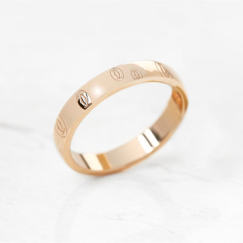 Cartier 18k Rose Gold Double C Logo Design Ring