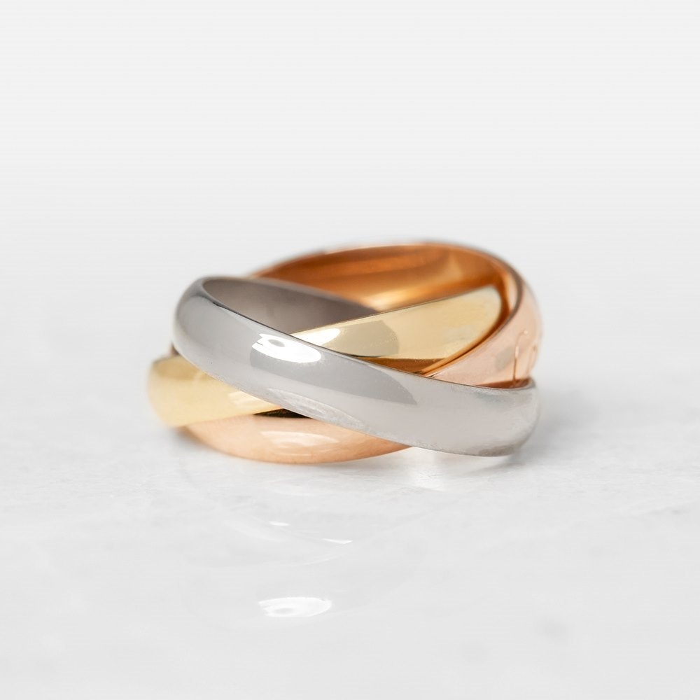 Cartier 18k Yellow, White & Rose Gold Trinity Ring Size H