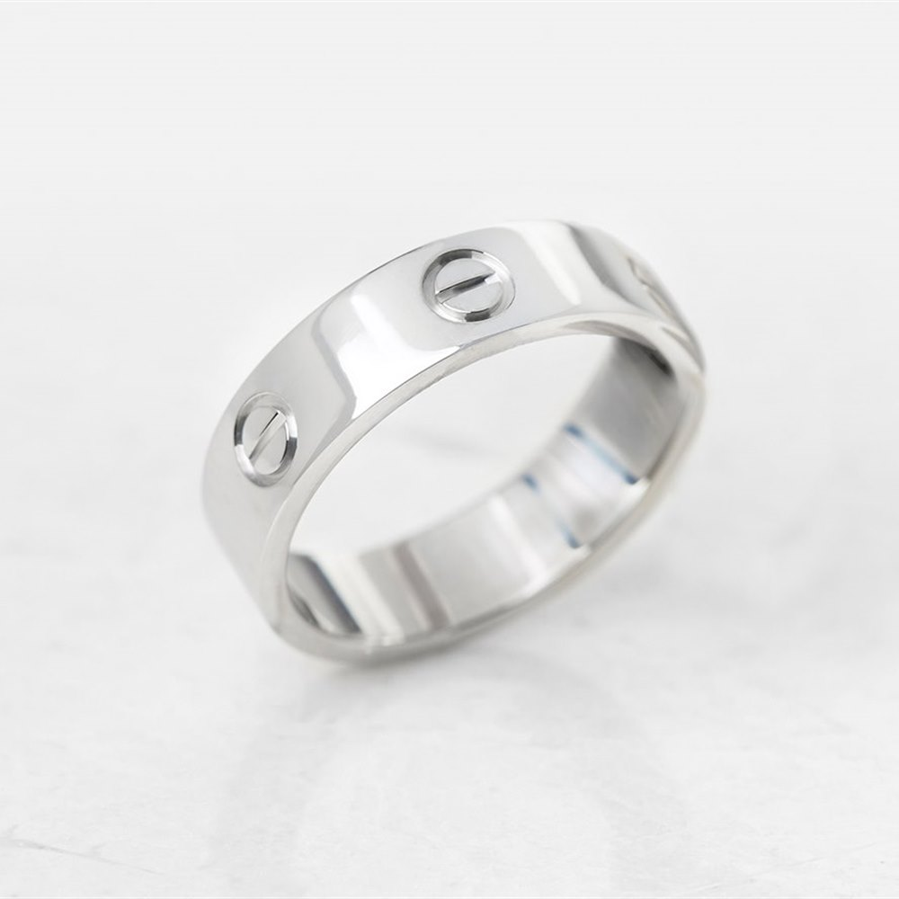 Cartier 18k White Gold Love Ring Size S