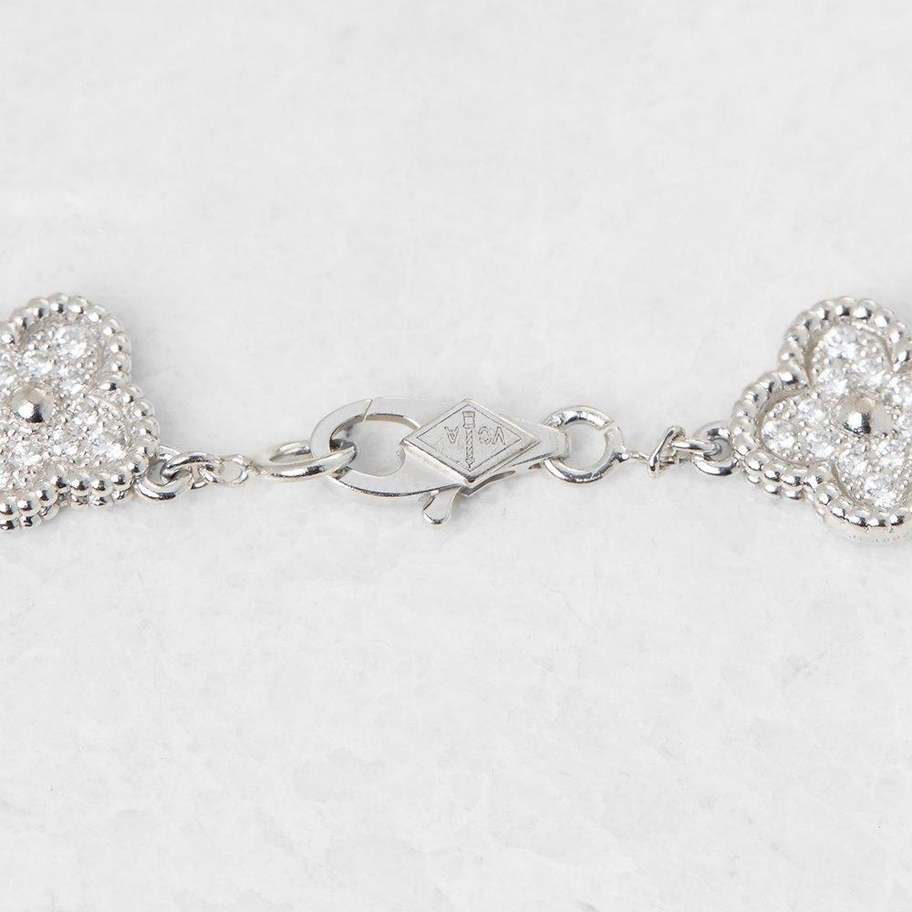 Van Cleef & Arpels 18k White Gold Diamond Sweet Alhambra Bracelet