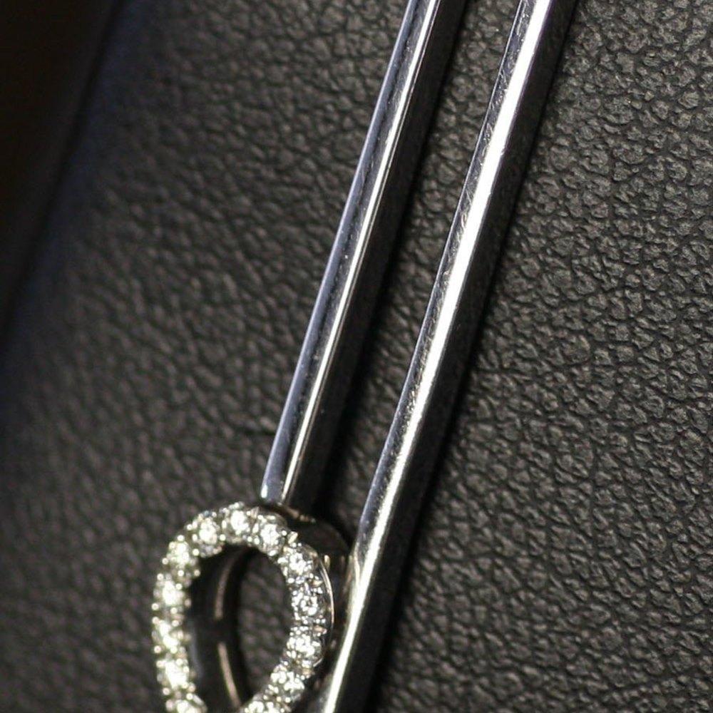 Mappin & Webb 18K White Gold Bar Diamond Drop Earrings