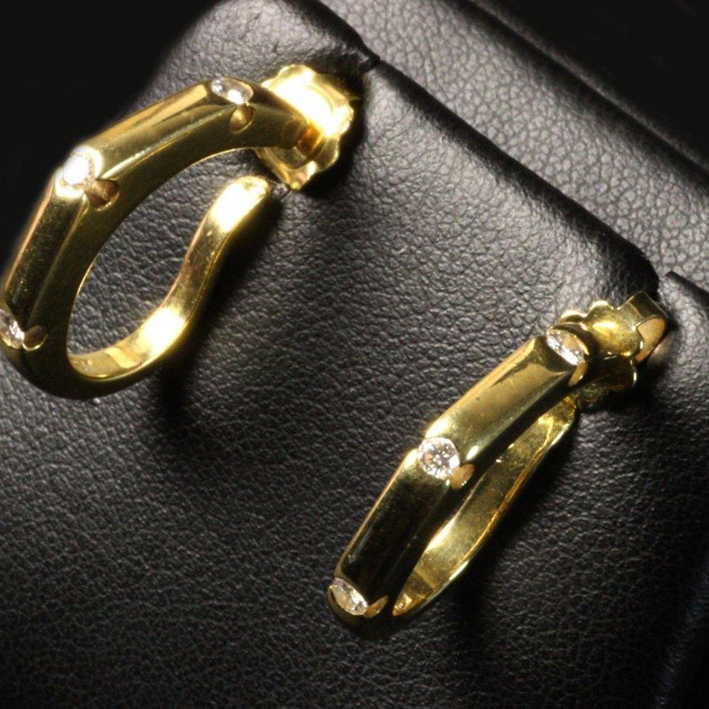 Mappin & Webb 18K Yellow Gold Diamond Bamboo Earrings