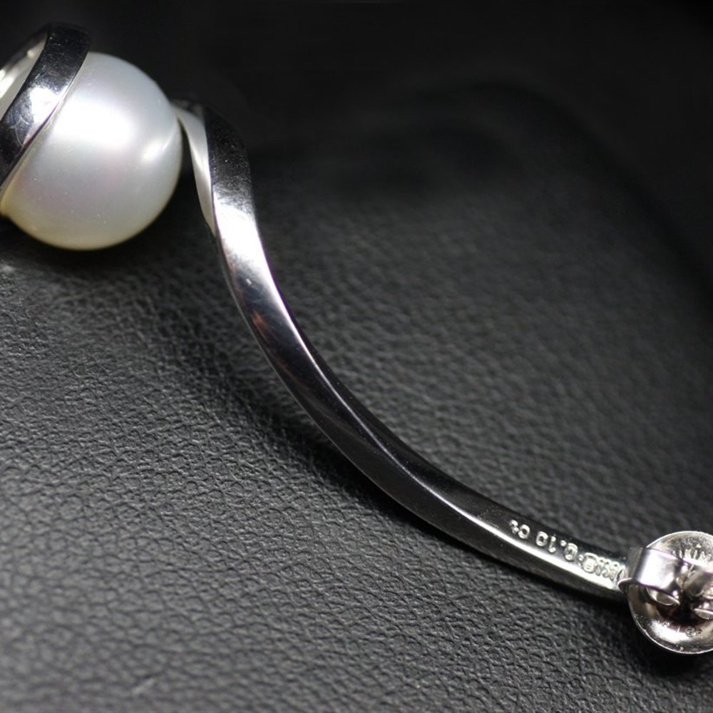 Mikimoto 18K White Gold Twist Pearl & Diamond Earrings