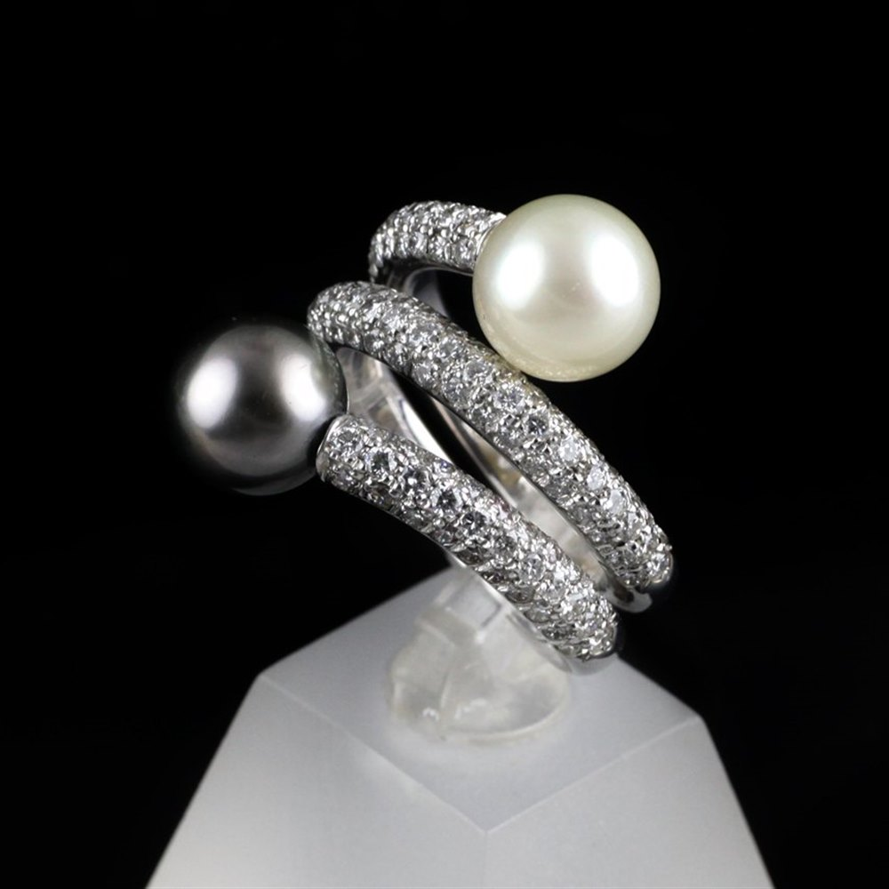 Mikimoto 18K White Gold White & Black Natural Pearl Paved Diamond Ring