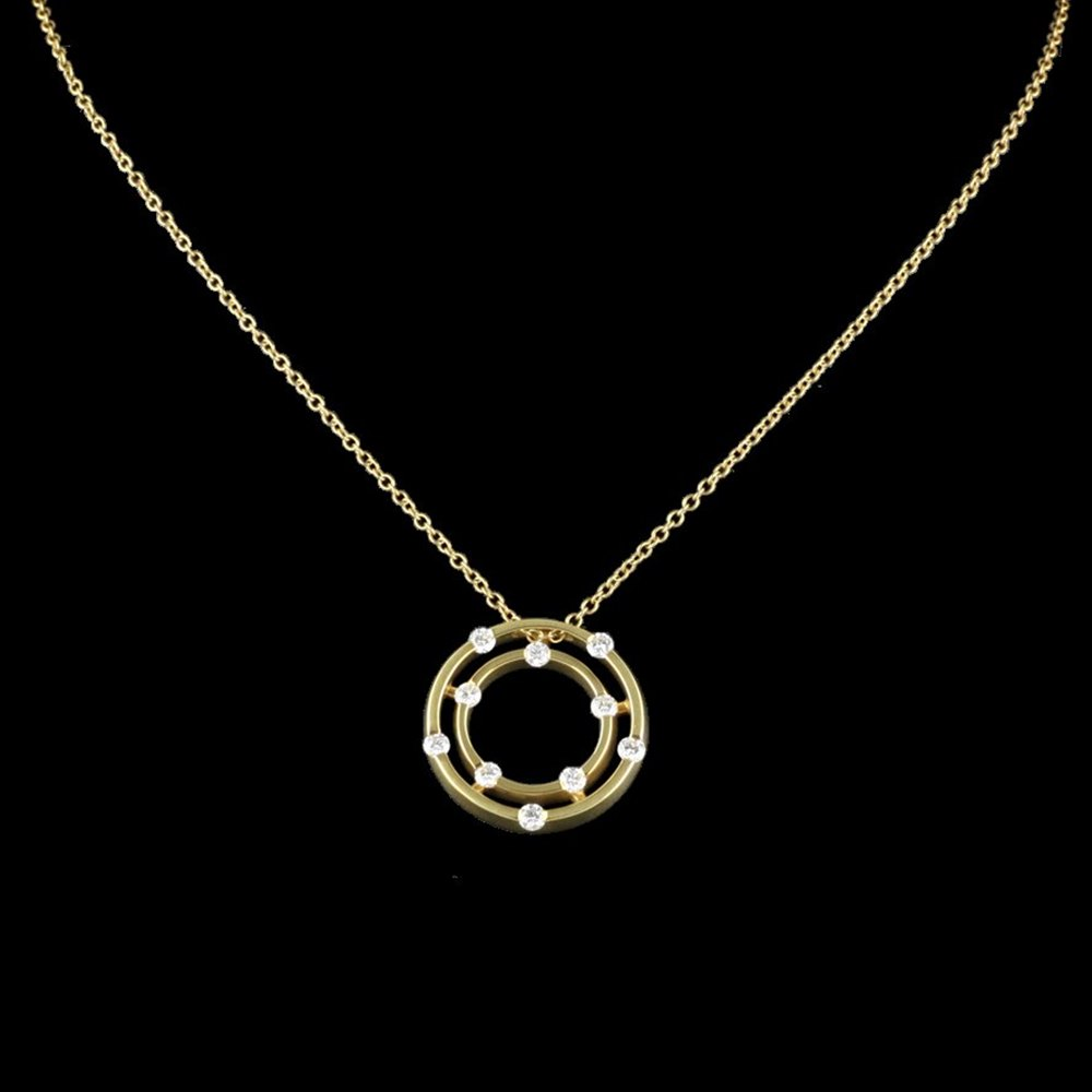 Roberto Coin Classica Parisienne 18K Yellow Gold Double Circle Pendant Necklace