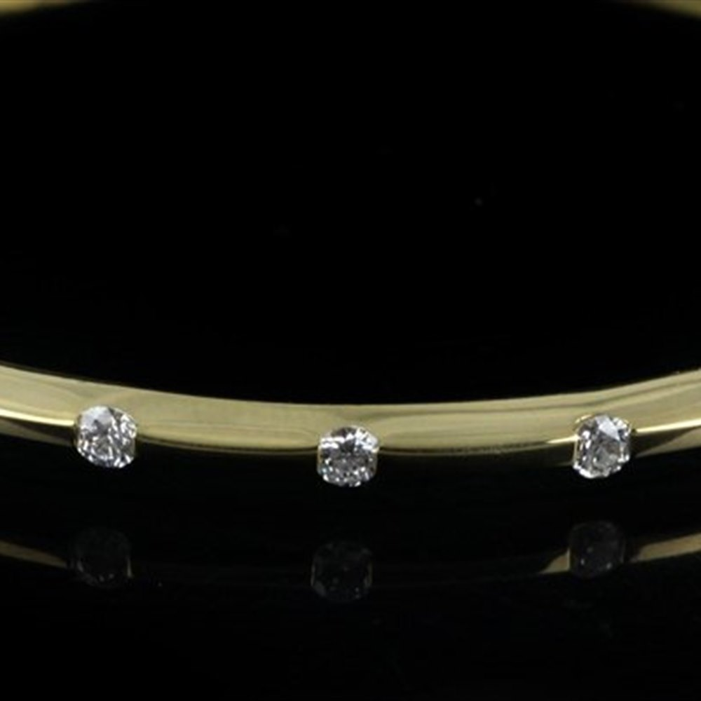 Mappin & Webb Roberto Coin Classica Parisienne 18K Yellow Gold 1 Row Diamond Bangle Bracelet