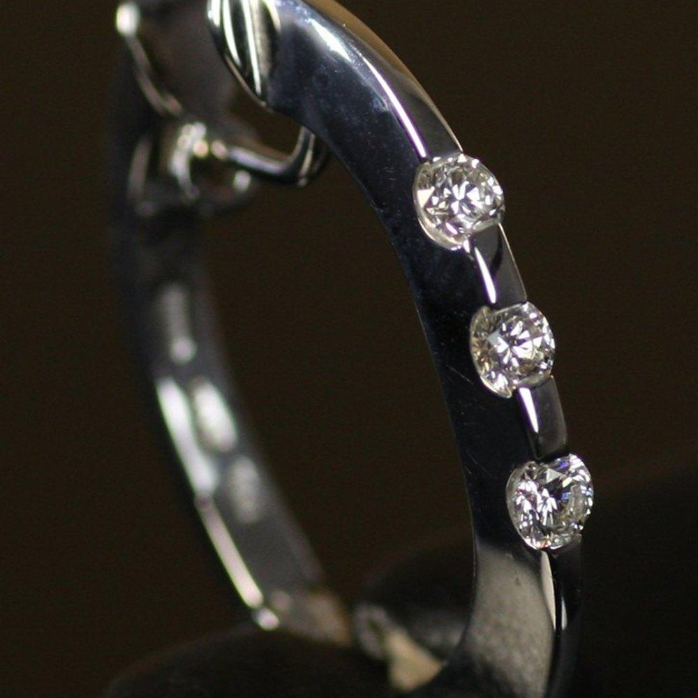 Roberto Coin Classica Parisienne 18K White Gold 3 Stone Diamond Huggy Earrings