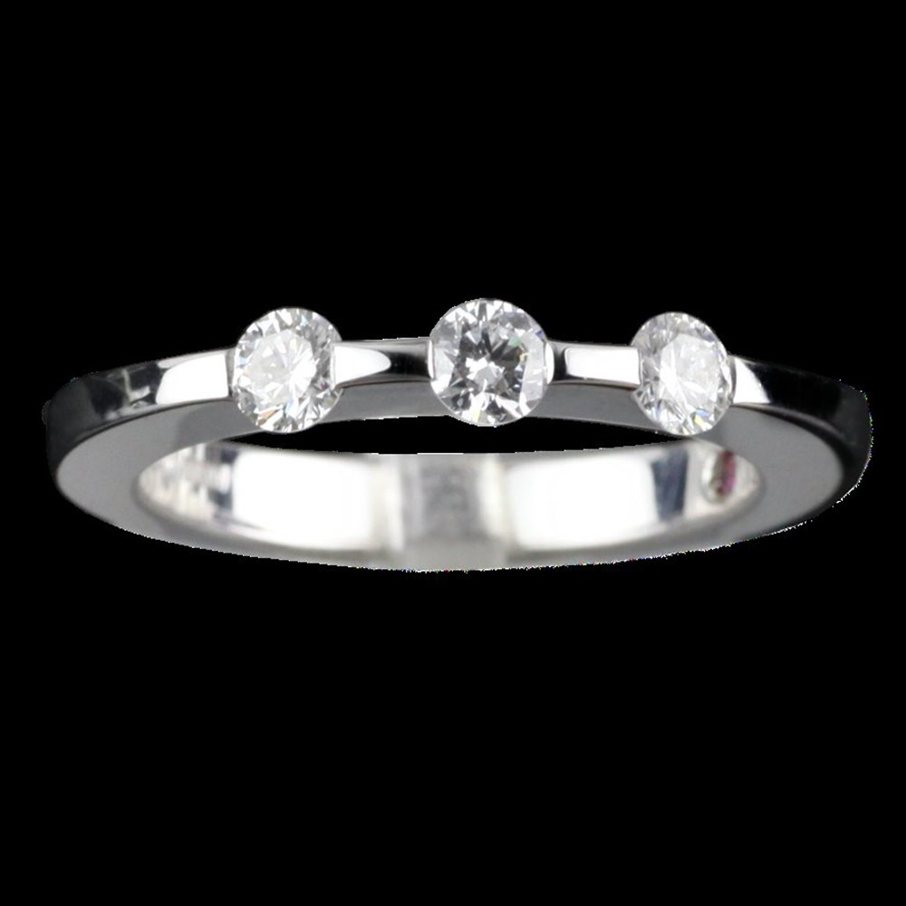 Roberto Coin Classica Parisienne 18K White Gold 3 Stone Diamond Ring