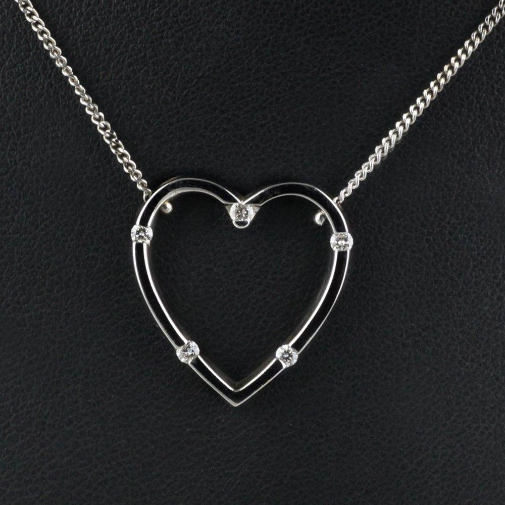 Roberto Coin Classica Parisienne 18K White Gold Diamond Heart Pendant