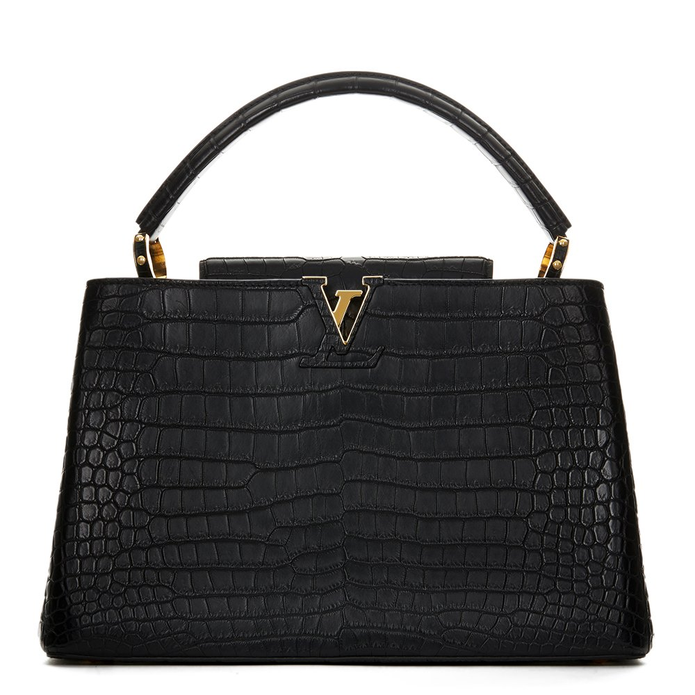 Louis Vuitton Black Matte Porosus Crocodile Leather Capucines MM