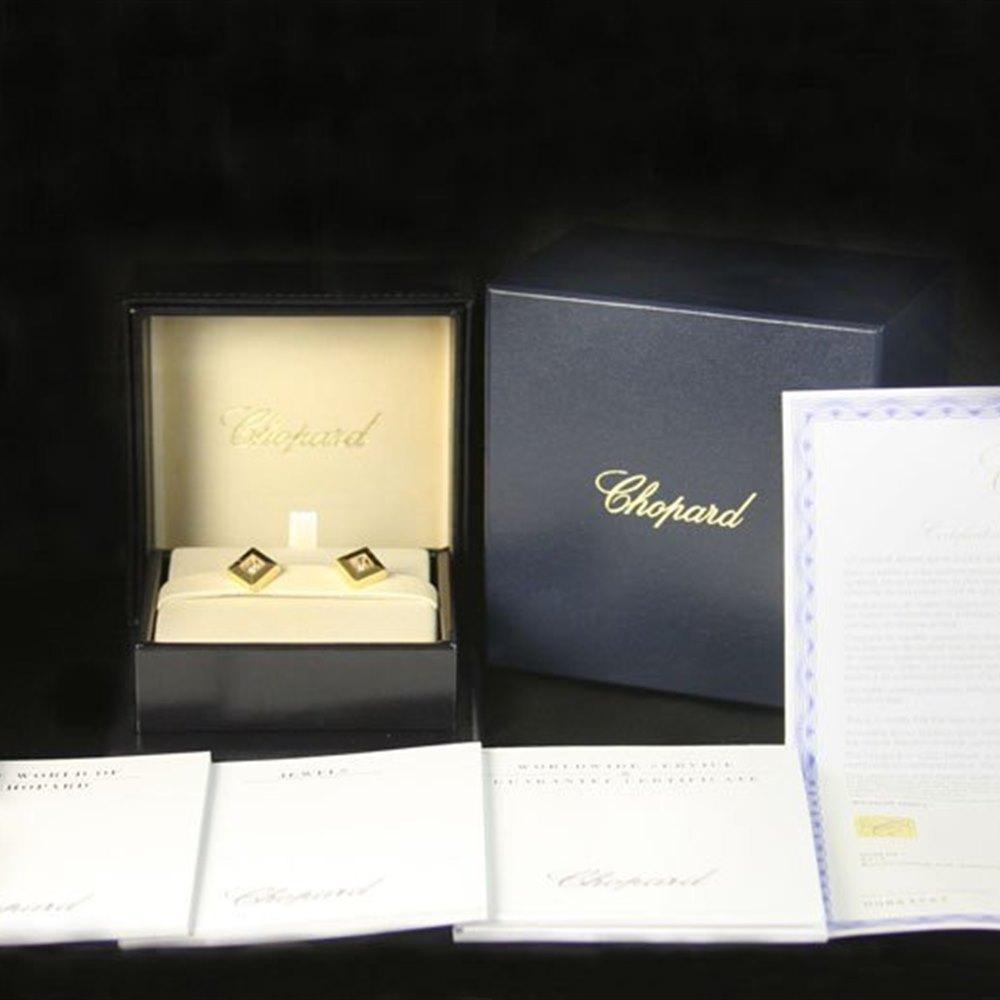 Chopard 18K Yellow Gold Happy Diamonds Square Earrings
