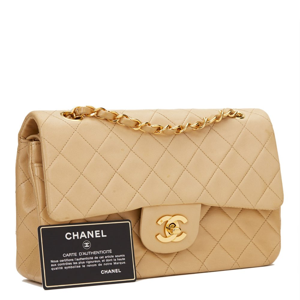 Chanel Väskor Vintage : Chanel beige quilted lambskin vintage small classic double