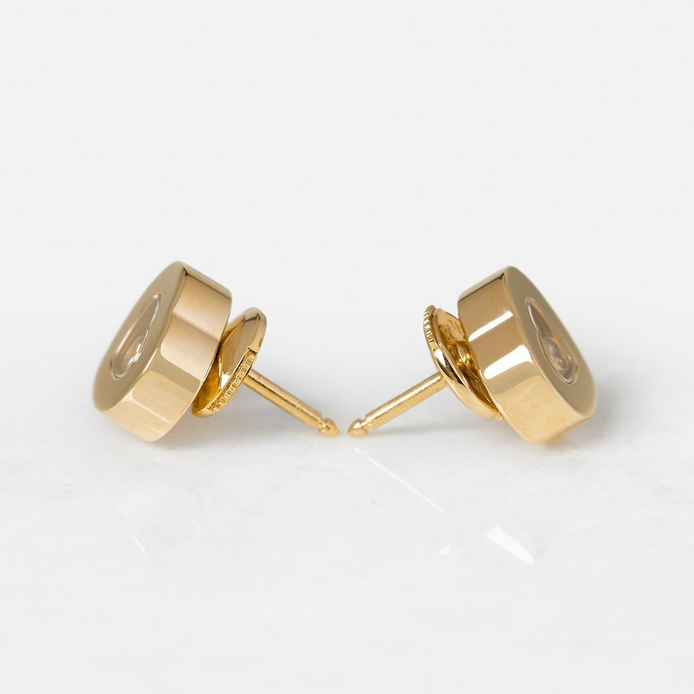Chopard 18k Yellow Gold Happy Diamonds Stud Earrings