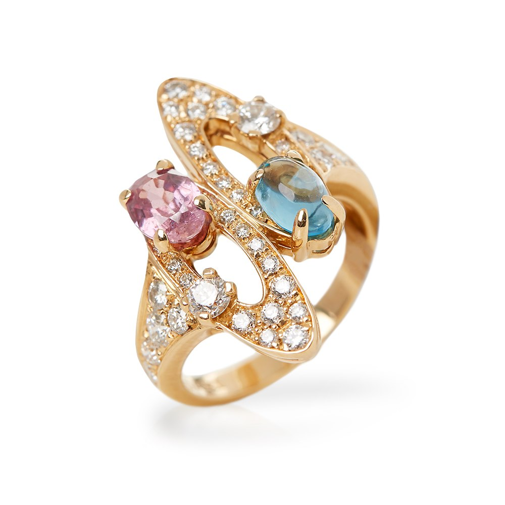 Bulgari 18k Yellow Gold Multi-Gemstone Allegra Ring