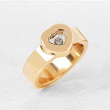 Chopard 18k Yellow Gold Heart Happy Diamonds Ring Size M 1/2