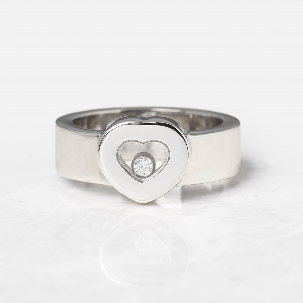 Chopard 18k White Gold Heart Happy Diamonds Ring Size M 1/2