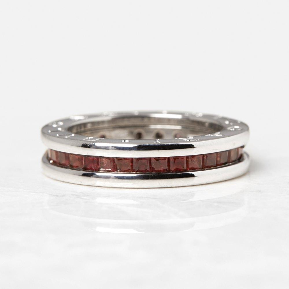 Bulgari 18k White Gold Garnet B.Zero 1 Ring
